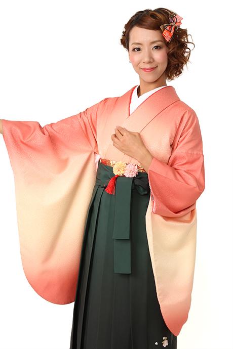 【着物】ベイジュピンク袖ボカシ