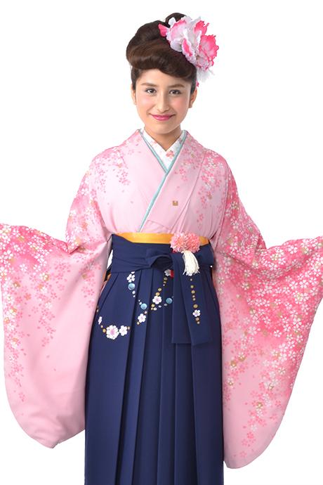 【着物】ピンクにローズサクラ小袖