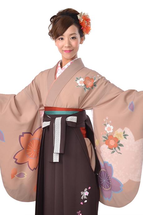 【着物】チャベイジュピンク大桜小袖