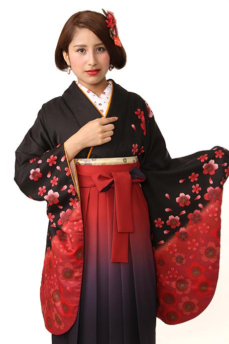 【着物】黒エンジサクラ小袖