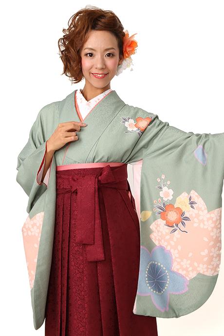 【着物】グリーンにピンク大桜