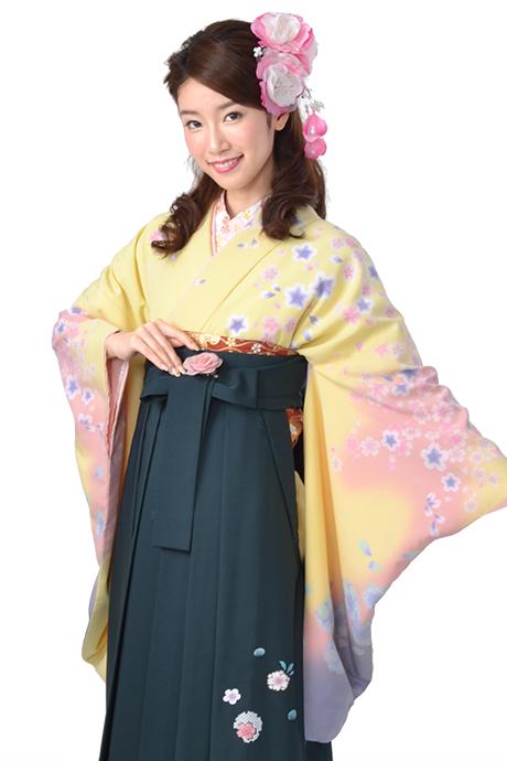 【着物】キイロ・ピンクサクラ