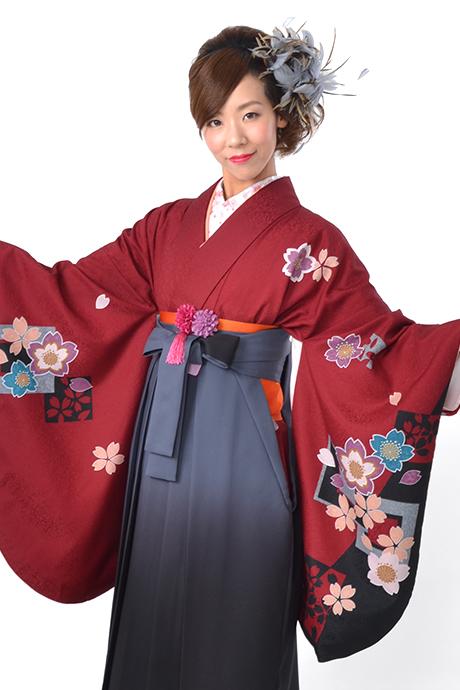 【着物】エンジ色紙サクラ小袖