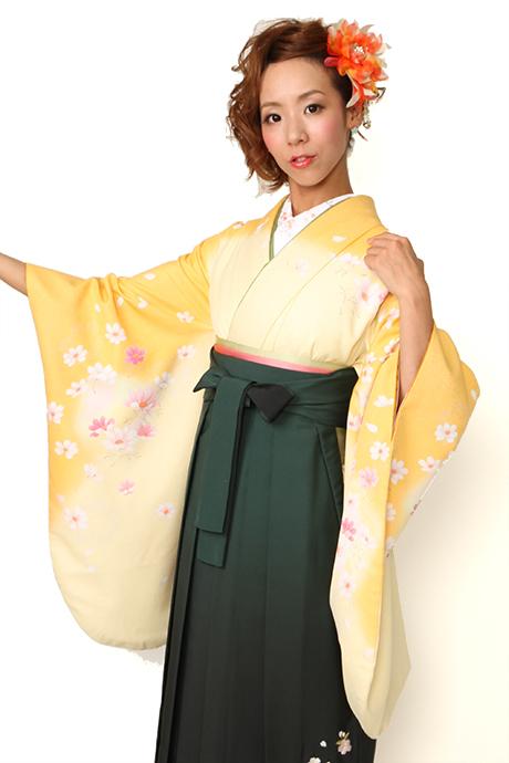 【着物】キイロボカシコスモス小袖