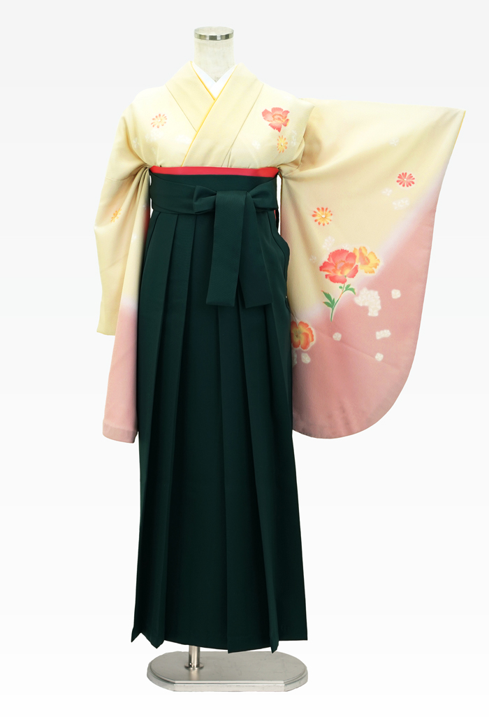 【着物】ベージュピンク洋花+【袴】フカミドリ