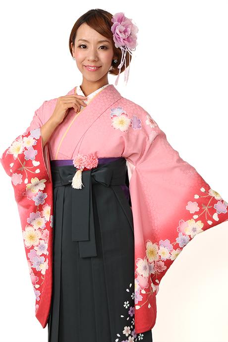 【着物】ピンクにローズ袖サクラ