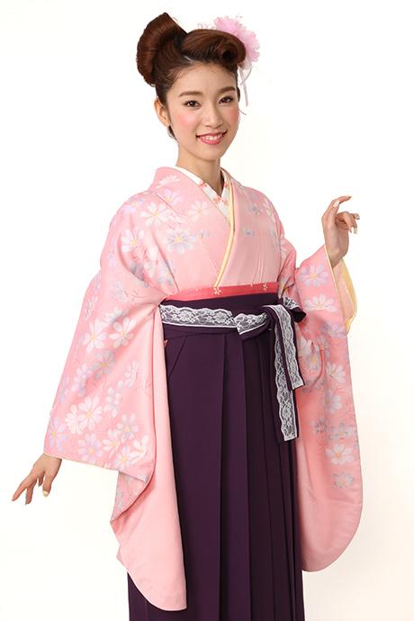 【着物】ピンクにコスモス