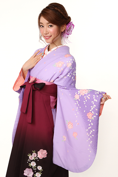 【着物】フジムラサキ八重桜