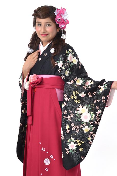 【着物】クロ市松サクラ小袖