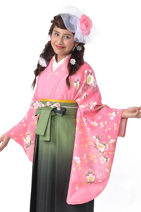 【着物】ピンク市松サクラ小袖