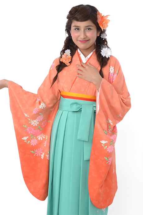 【着物】オレンジボカシ洋花