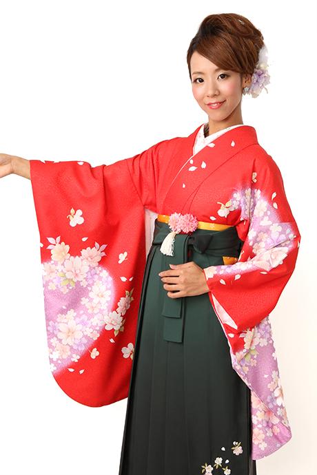 【着物】赤にフジ袖洋花