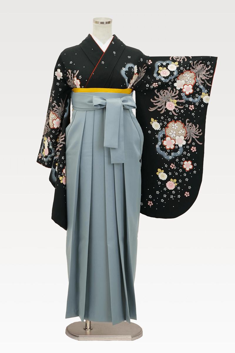 【着物】黒地に大菊小菊+【袴】ホワイトグレー