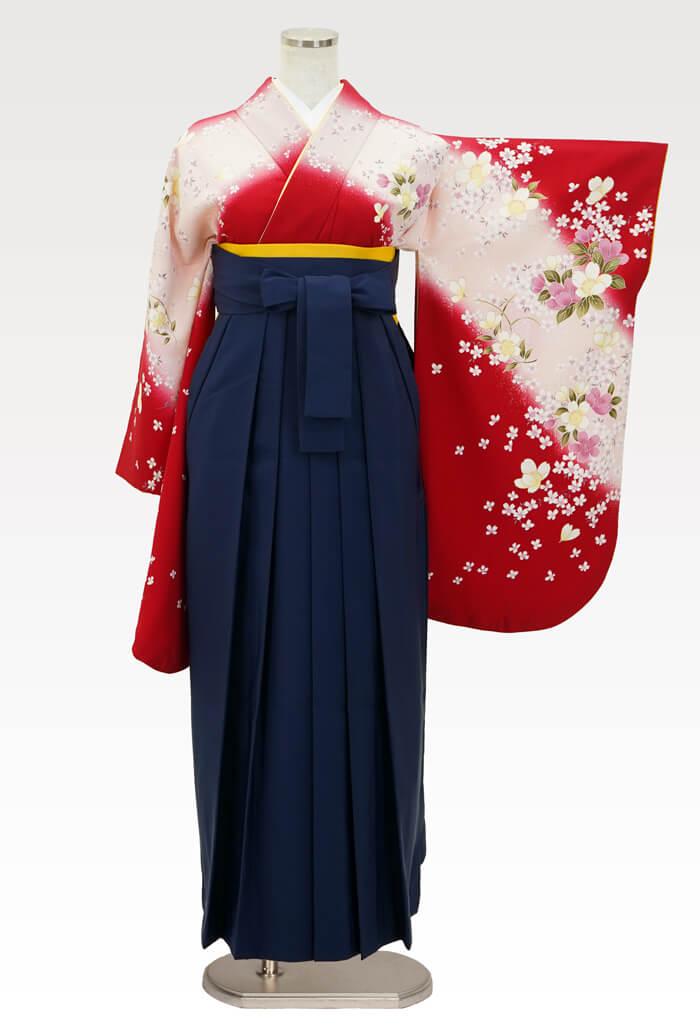 【着物】赤にうすももサクラ+【袴】コン