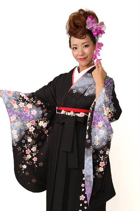 【着物】黒にムラサキシダレザクラ