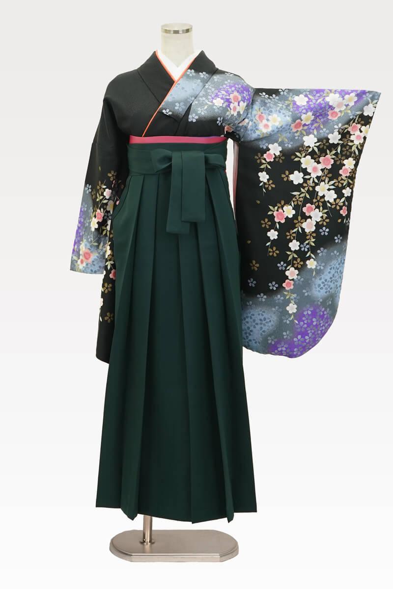 【着物】黒にムラサキシダレサクラ+【袴】フカミドリ