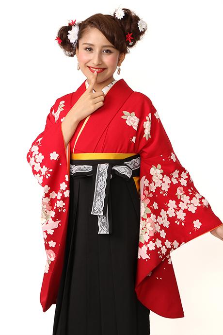 【着物】赤にサクラボタンにリボン小袖