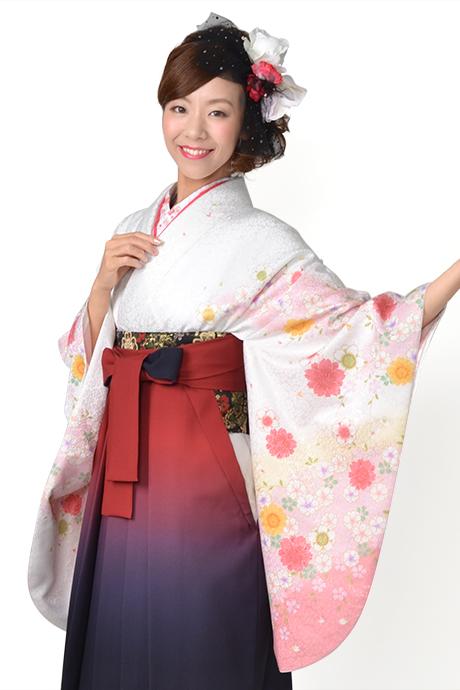 【着物】白にピンクヤエザクラ