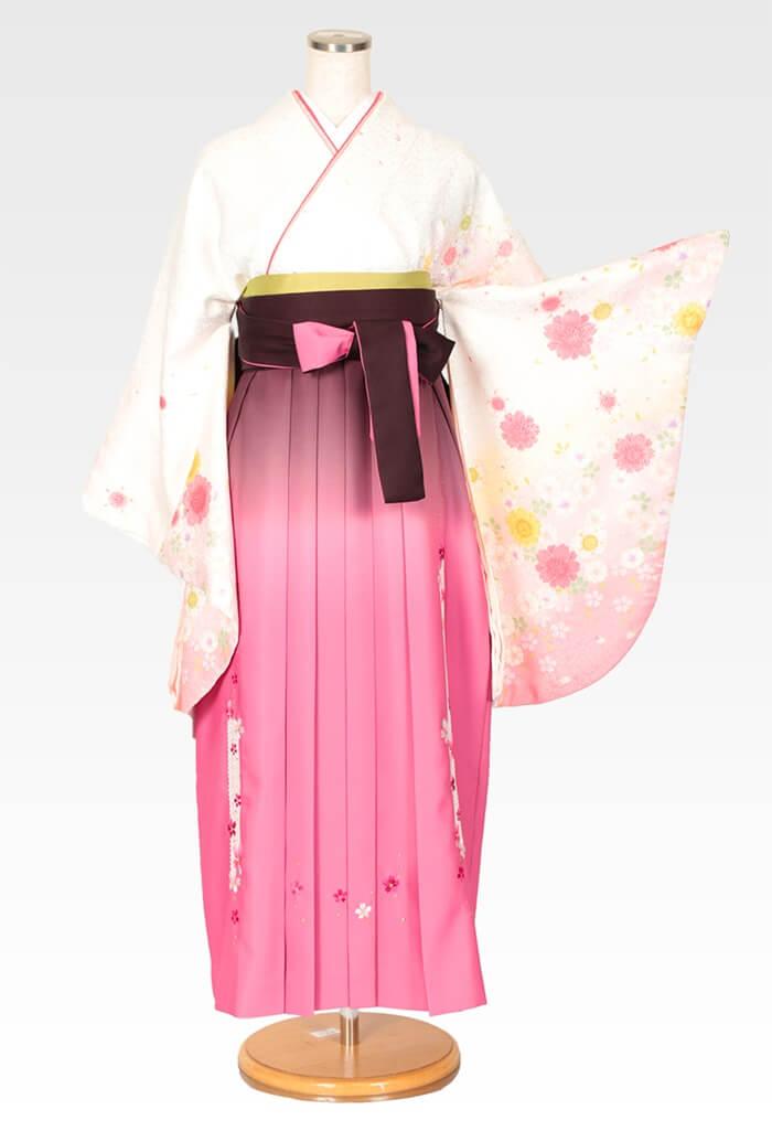 【着物】白地にピンクのヤエザクラ×【袴】ピンクぼかしレース桜
