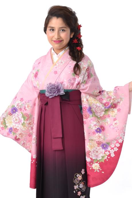 【着物】ピンクにローズ四季花