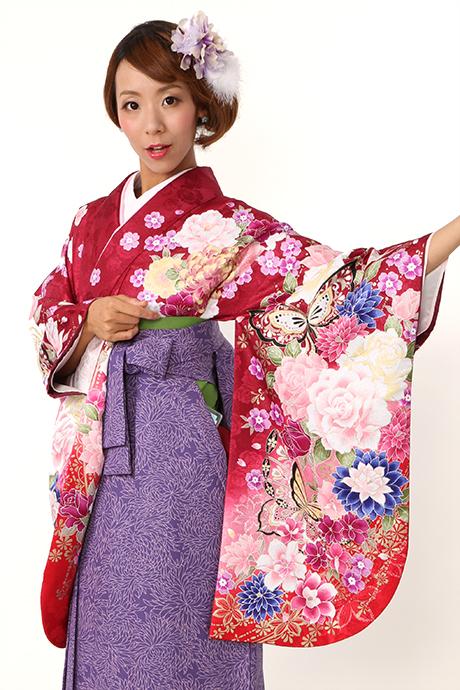 【着物】ワイン蝶・バラぼかし