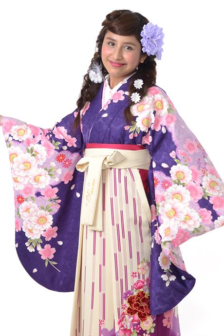 【着物】ムラサキ桜小袖