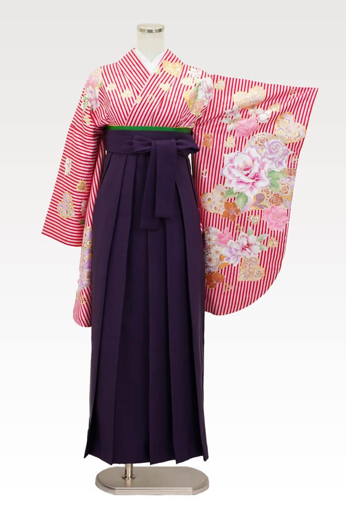 【着物】ピンクストライプバラとハート+【袴】ムラサキ