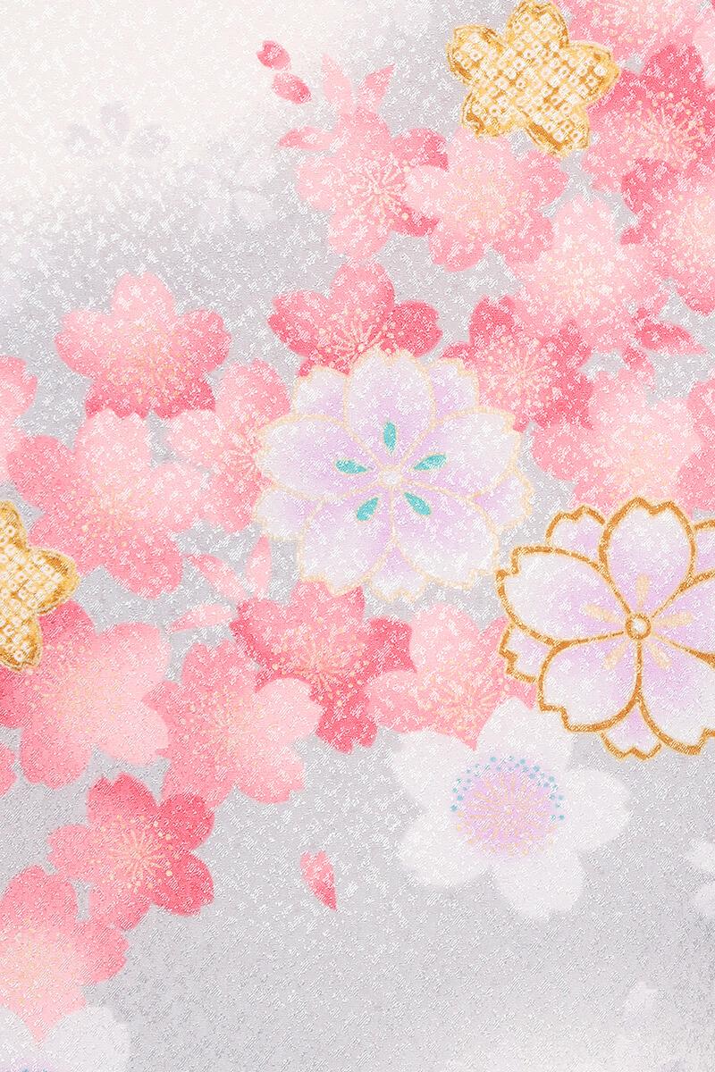 レンタル着物:白地にピンクグレー桜詳細