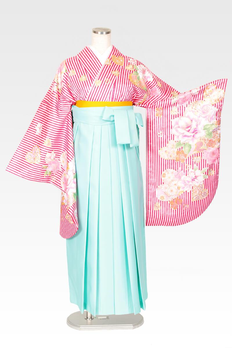 レンタル着物:ピンクストライプバラとハート+レンタル袴:エメラルドグリーンのコーディネート