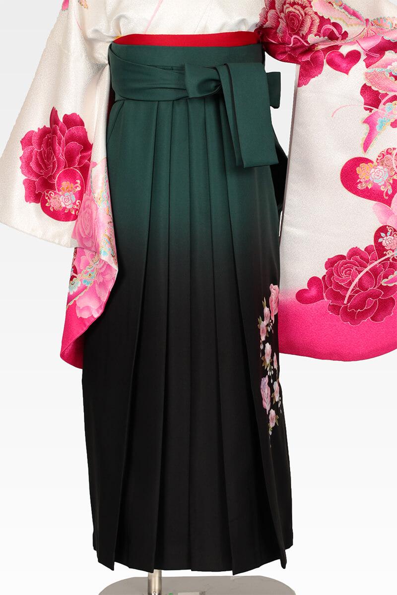 レンタル袴:グリーンボカシバラ刺繍