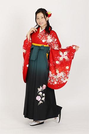 赤地に朱袖小桜集とグリーンボカシバラ刺繍