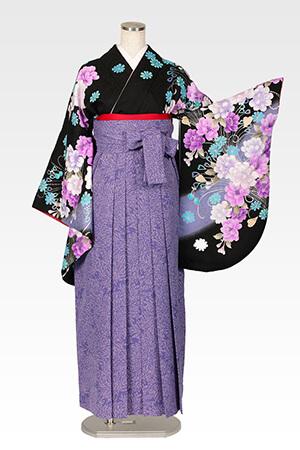 anan黒に紫牡丹龍泉と総柄ブルー