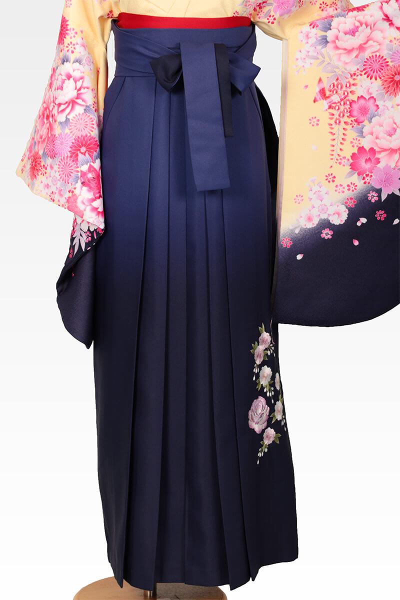 レンタル袴:紺ボカシバラ刺繍