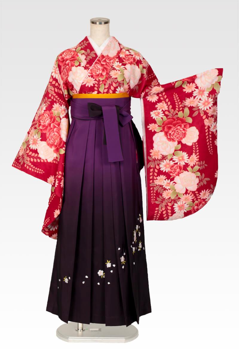 レンタル着物:赤地バラに藤+レンタル袴:ムラサキボカシ刺繍のコーディネート