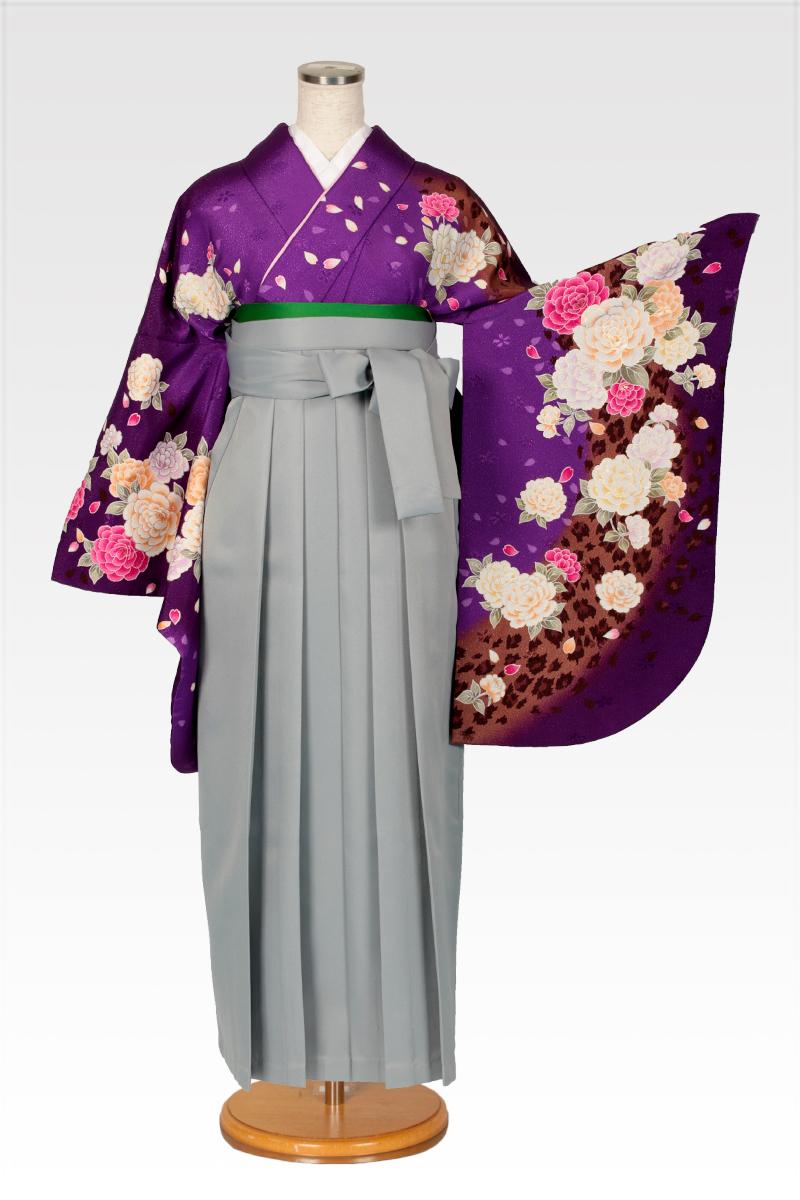 レンタル着物:茶ラメバラ吹雪+レンタル袴:ホワイトグレーのコーディネート