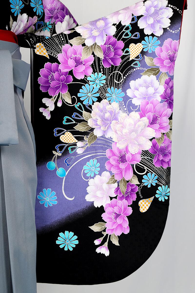 レンタル着物:anan黒×紫牡丹流泉袖