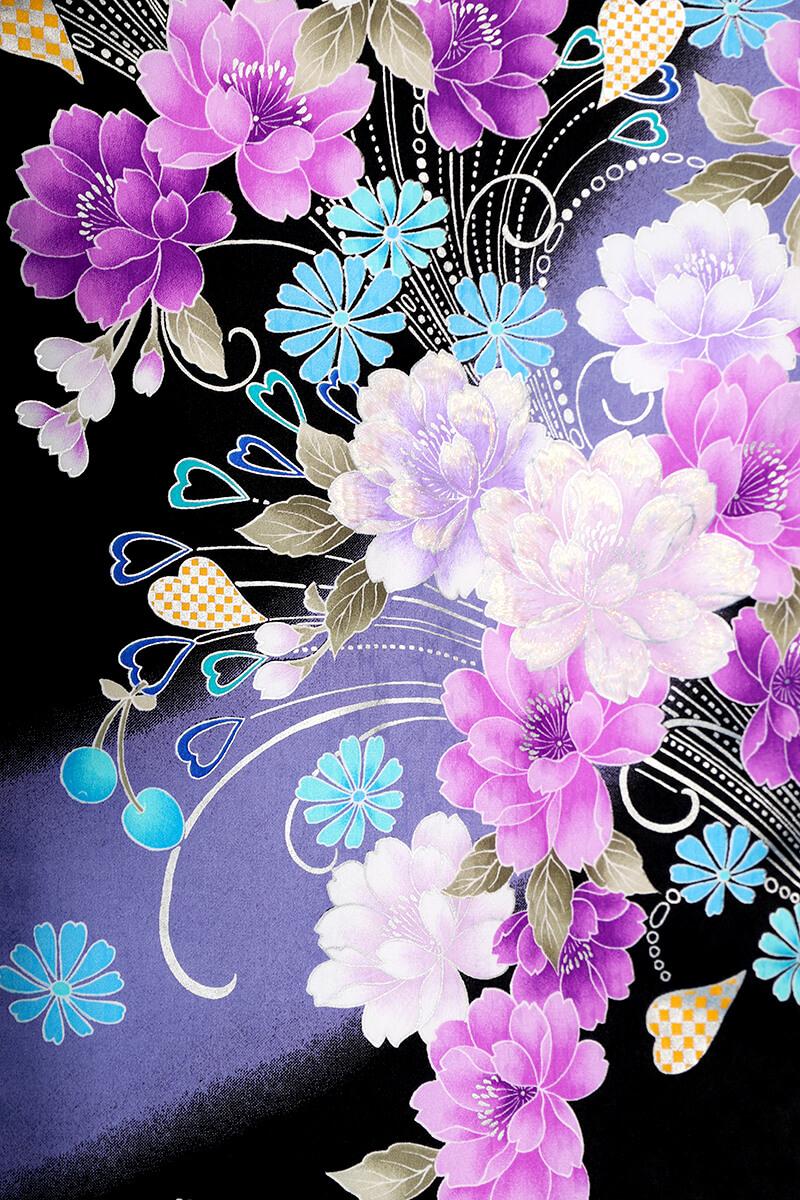 レンタル着物:anan黒×紫牡丹流泉詳細