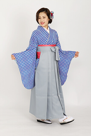 【着物】ブルー千鳥+【袴】ホワイトグレー